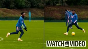 Eddie Nketiah shows off his skills in training with Arsenal