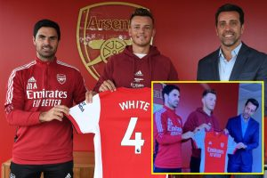 Arsenal joke about leaked Ben White signing picture as defender completes £50m transfer from Brighton