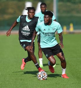 Photo: 20-year-old now spotted in Arsenal first-team training after being expected to leave this summer
